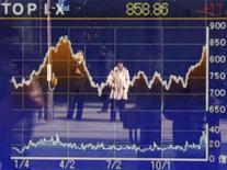 El Índice Nikkei cerró el jueves con subidas en un máximo de 21 meses, liderada por las exportadoras y los valores financieros, debido a que la promesa del nuevo gobierno japonés de luchar contra la deflación y de tener una divisa fuerte aumentaron el apetito de riesgo. En la imagen, una mujer reflejada en un panel electrónico con un gráfico del índice Topix en Tokio, el 27 de diciembre de 2012. REUTERS/Yuriko Nakao