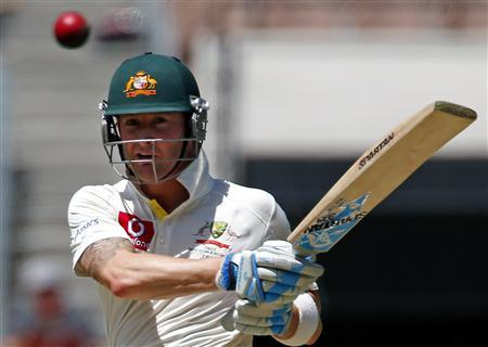 Australia's captain Michael Clarke hits a boundary during the second day of the second cricket test against Sri Lanka at the Melbourne Cricket Ground December 27, 2012. REUTERS/David Gray