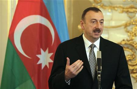 Azerbaijan's President Ilham Aliyev answers questions during a news conference at Prague Castle in Prague April 5, 2012. REUTERS/David W Cerny