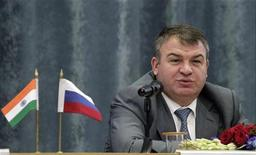 Russian Defence Minister Anatoly Serdyukov speaks during a news conference in New Delhi October 10, 2012. REUTERS/B Mathur