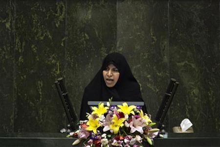 EDITORS' NOTE: Reuters and other foreign media are subject to Iranian restrictions on their ability to film or take pictures in Tehran. Health Minister Marzieh Vahid-Dastjerdi speaks to lawmakers in parliament in Tehran in this file photo taken September 1, 2009. REUTERS/Morteza Nikoubazl