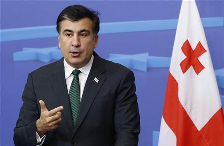 Georgia's President Mikheil Saakashvili holds a news conference after meeting European Council President Herman Van Rompuy (not pictured) in Brussels November 14, 2012. REUTERS/Francois Lenoir