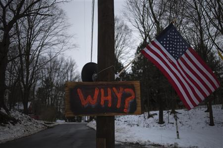 A sign is posted on an electricity pole outside a house near Sandy Hook Elementary School, nearly two weeks after a gunman shot dead 20 students and six adults, in Newtown, Connecticut December 27, 2012. REUTERS/Adrees Latif