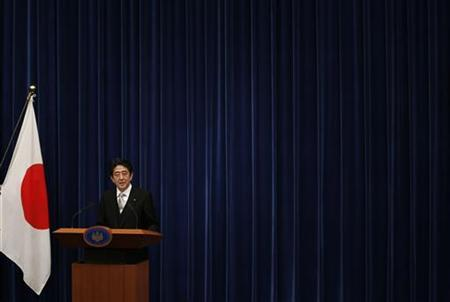 Japan's new Prime Minister Shinzo Abe attends a news conference at his official residence in Tokyo December 26, 2012. Japanese Prime Minister Abe said on Wednesday his government will pursue bold monetary policy, flexible fiscal policy and a growth strategy to encourage private investment. REUTERS/Toru Hanai (JAPAN - Tags: POLITICS BUSINESS)
