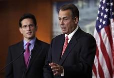 "U.S. House Speaker John Boehner (R-OH) (R) and House Majority Leader Eric Cantor (R-VA) speak to the media on the ""fiscal cliff"" on Capitol Hill in Washington, December 21, 2012. REUTERS/Yuri Gripas"