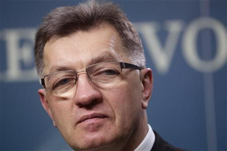 Lithuania's Prime Minister Algirdas Butkevicius listens to the media after a Parliament session in Vilnius November 20, 2012. REUTERS/Ints Kalnins