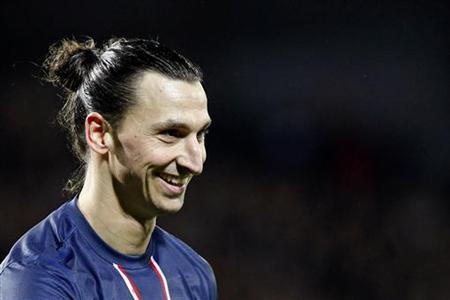 Paris Saint-Germain's Zlatan Ibrahimovic reacts during their French Ligue 1 soccer match against Stade Brest at the Francis Le Ble stadium in Brest, December 21, 2012. REUTERS/Stephane Mahe