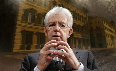 Italy's outgoing Prime Minister Mario Monti gestures during a news conference in Rome December 28, 2012. Monti said on Friday that he would lead a coalition of centrist parties who support his European and reform-minded agenda in the parliamentary election in just two months time. REUTERS/Tony Gentile