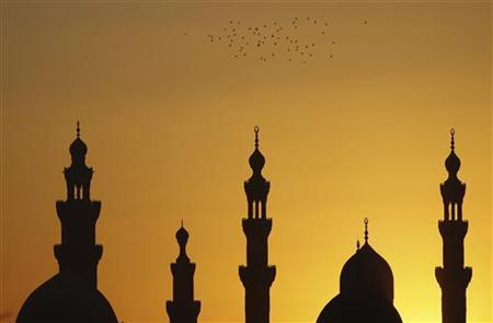 Birds fly over mosques during sunset in Old Cairo December 22, 2012. REUTERS/Amr Abdallah Dalsh