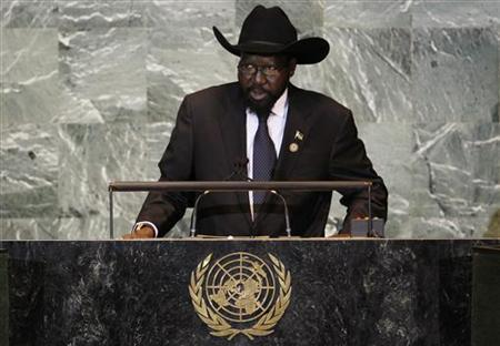 South Sudan's President Salva Kiir addresses the 66th United Nations General Assembly at the U.N. headquarters in New York September 23, 2011. REUTERS/Mike Segar