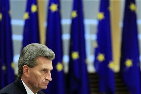 European Energy Commissioner Gunther Oettinger attends a meeting between the European Commission and an Irish ministers delegation in Brussels October 3, 2012. REUTERS/Yves Herman