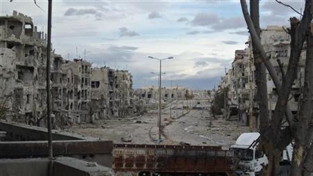 View of damaged buildings are seen in Al-khalidiya neighbourhood of Homs December 20, 2012. Picture taken December 20, 2012. REUTERS/Thair Al-Khalidieh/Shaam News Network/Handout