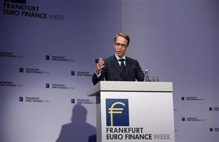 President of German Bundesbank Jens Weidmann gestures as he speaks on the podium during the Frankfurt Euro Finance Week in Frankfurt November 19, 2012. REUTERS/Lisi Niesner