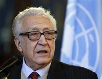 "U.N.-Arab League peace mediator Lakhdar Brahimi of Algeria speaks during a joint news conference with Russia's Foreign Minister Sergei Lavrov in Moscow December 29, 2012. Brahimi, the international mediator who has struggled to end Syria's conflict, said on Saturday that the alternative to a political process in the Middle Eastern country is ""hell"". REUTERS/Sergei Karpukhin"