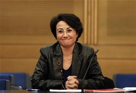 Israeli Arab lawmaker Haneen Zoabi speaks at a news conference in Jerusalem December 19, 2012. Israel's electoral authority barred Zoabi from re-election on Wednesday, saying she had supported the nation's enemies by joining a protest ship that tried to break a naval blockade of Gaza. REUTERS/Ronen Zvulun