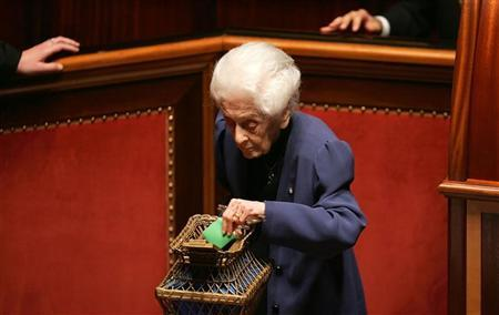 Filed picture of Italian senator and Nobel prize winner Rita Levi Montalcini voting during the fourth round of votes to elect the new Senate speaker in Rome April 29, 2006. REUTERS/Max Rossi