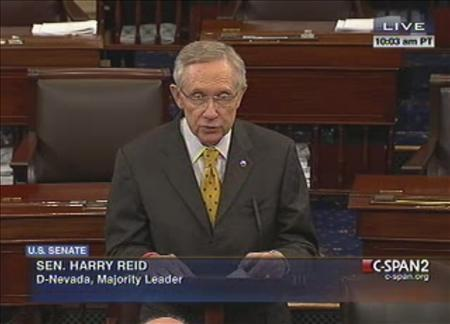 U.S. Senate Majority Leader Harry Reid (D-NV) is shown in this C-Span video footage as he addresses the Senate during an unusual session on Capitol Hill in Washington, December 30, 2012. Hopes rose on Sunday that U.S. lawmakers could reach at least a limited deal to prevent the still-recovering economy from tumbling off a ''fiscal cliff'' at the New Year, sending the country into another recession. REUTERS/C-SPAN/Handout