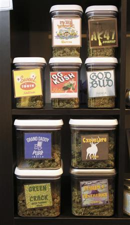 Medical marijuana products are on display at Canna Pi medical dispensary in Seattle, Washington in this December 3, 2012 file photograph. The passage of the ballot measures in Colorado and Washington state in November 2012 allowed personal possession of the drug for people 21 and older. That same age group will be allowed to buy the drug at special marijuana stores under rules set to be finalized next year in 2013. REUTERS/Anthony Bolante/Files