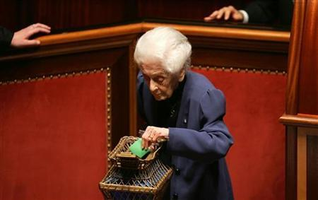 Italian senator and Nobel prize winner Rita Levi Montalcini votes during the fourth round of votes to elect the new Senate speaker in Rome April 29, 2006. REUTERS/Max Rossi/Files