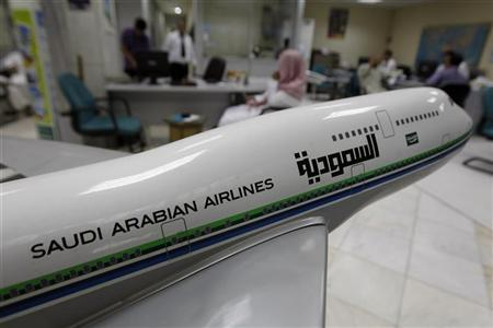 A model plane stands in an airline ticketing office in Riyadh, July 17, 2012. REUTERS/Fahad Shadeed