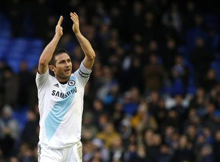 Chelsea's Frank Lampard reacts after their English Premier League soccer match against Everton at Goodison Park in Liverpool, northern England December 30, 2012. REUTERS/Phil Noble
