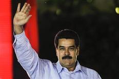 Venezuela's Vice President Nicolas Maduro greets supporters during the anniversary ceremony of the Bolivarian Alliance for the Peoples of Our America (ALBA) in Caracas December 15, 2012. REUTERS/Carlos Garcia Rawlins