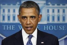 """El presidente de Estados Unidos, Barack Obama, dando un discurso en la Casa Blanca en Washington, dic 28 2012. El presidente de Estados Unidos, Barack Obama, dijo el lunes que un acuerdo para evitar el """"abismo fiscal"""" parece estar a la vista, aunque no está concluido. REUTERS/Jonathan Ernst"""