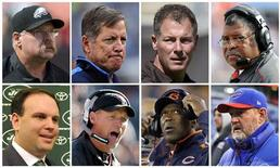 On what has become known as Black Monday, heads continued to roll for under-achieving head coaches and management as seen in this combination of file photos. The fired head coaches and management are, top row (L to R), Philadelphia Eagles head coach Andy Reid, San Diego Chargers head coach Norv Turner, Cleveland Browns head coach Pat Shurmur and Kansas City Chiefs head coach Romeo Crennel. On the bottom row (L to R), New York Jets General Manager Mike Tannenbaum, Arizona Cardinals head coach Ken Whisenhunt, Chicago Bears head coach Lovie Smith and Buffalo Bills head coach Chan Gailey. REUTERS/Staff/Files