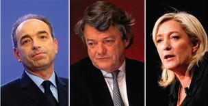 De gauche à droite, le président de l'UMP Jean-François Copé, le président de l'UDI (centre-droit) Jean-Louis Borloo et la présidente du Front national Marine Le Pen. Tous trois ont critiqué lundi la prestation de François Hollande qui a présenté aux Français ses premiers voeux de président de la République en réaffirmant son objectif d'une baisse du chômage. /Photos d'archives/REUTERS/Benoît Tessier/Charles Platiau/Benoît Tessier