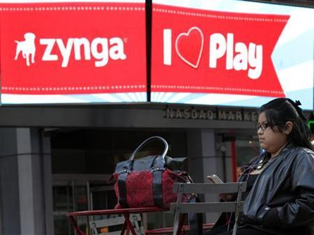 The corporate logo for Zynga is seen on a screen outside the Nasdaq Market Site in New York, December 16, 2011. REUTERS/Brendan McDermid/Files