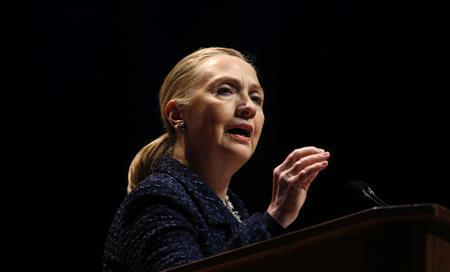 U.S. Secretary of State Hillary Clinton delivers a speech ''Frontlines and Frontiers: Making Human Rights a Human Reality'' at Dublin City University in Ireland in this file photo from December 6, 2012. REUTERS/Kevin Lamarque