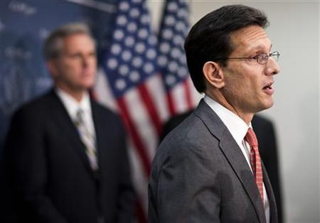 House Majority Leader Rep. Eric Cantor (R-VA) speaks at a news conference after a Republican caucus meeting on Capitol Hill in Washington on December 18, 2012. REUTERS/Joshua Roberts