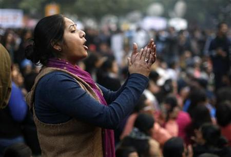 A demonstrator shouts slogans during a protest in New Delhi December 29, 2012. REUTERS/Ahmad Masood