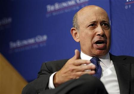 Lloyd Blankfein, chairman and CEO of The Goldman Sachs Group, delivers remarks at an event sponsored by the Economic Club of Washington in Washington, July 18, 2012. REUTERS/Jason Reed