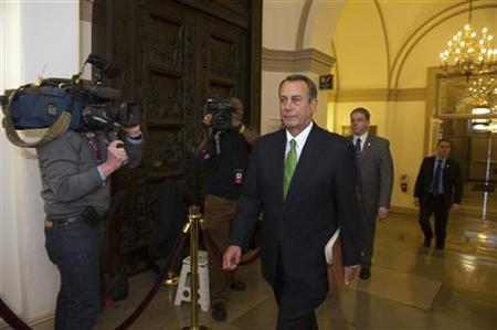 Speaker of the House John Boehner (R-OH) arrives at the U.S. Capitol in Washington January 1, 2013. The Senate moved the U.S. economy back from the edge of a ''fiscal cliff'' on Tuesday, voting to avoid imminent tax hikes and spending cuts in a bipartisan deal that could still face stiff challenges in the House of Representatives. REUTERS/Mary F. Calvert