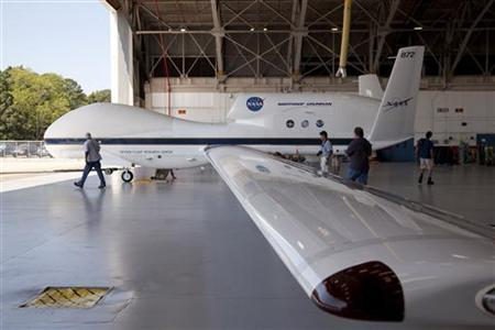 The Global Hawk is pictured at the aircraft hangar of NASA's Wallops Flight Facility in Wallops Island, Virginia on September 7, 2012, released to Reuters on September 26. REUTERS/NASA/Handout