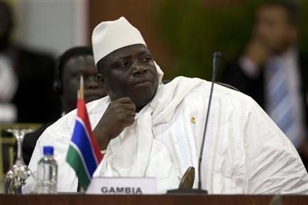 Gambia's President Al Hadji Yahya Jammeh attends the plenary session of the Africa-South America Summit on Margarita Island September 27, 2009. REUTERS/Carlos Garcia Rawlins