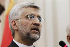 Iran's Supreme National Security Council Secretary Saeed Jalili answers questions during a joint news conference with Iraq's National Security Adviser Faleh Al-Fayad (not pictured) in Baghdad, August 8, 2012. REUTERS/Mohammed Ameen