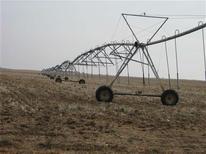 El acuerdo tomado casi por 200 naciones para combatir las crecientes emisiones de gases de efecto invernadero a partir de 2020 saldrá mucho más caro que tomar medidas ahora contra el cambio climático, según un estudio publicado el miércoles. En esta imagen de archivo, equipo de riego en el suroeste de Kansas, el 26 de noviembre de 2012. REUTERS/Kevin Murphy