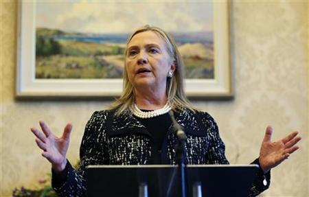 U.S. Secretary of State Hillary Clinton speaks during a news conference at Stormont Castle in Belfast December 7, 2012. REUTERS/Kevin Lamarque
