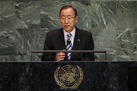 United Nations Secretary-General Ban Ki-moon speaks during the 67th United Nations General Assembly at U.N. headquarters in New York, September 25, 2012. REUTERS/Mike Segar