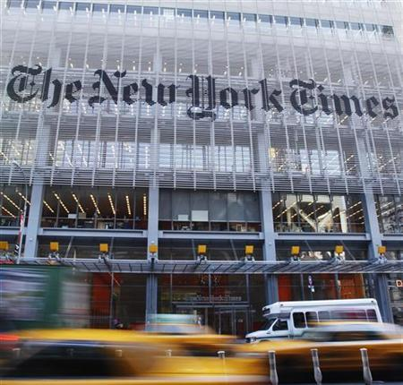 The facade of the New York Times building is seen in New York, November 29, 2010. REUTERS/Shannon Stapleton/Files
