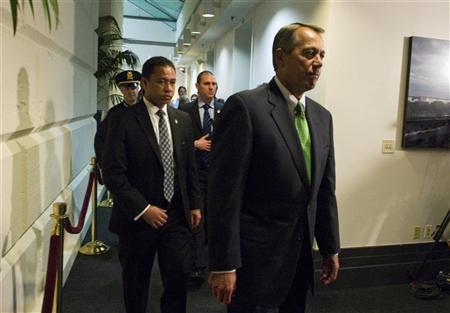 Speaker of the House John Boehner, (R-OH) leaves a House Republican caucus meeting at the U.S. Capitol in Washington January 1, 2013. REUTERS/Mary F. Calvert