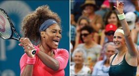 La numéro un mondiale Victoria Azarenka (à droite) et l'Américaine Serena Williams, troisième à la WTA, se retrouveront en demi-finale du tournoi de Brisbane, après leurs victoires respectives, jeudi, sur Ksenia Pervak et Sloane Stephens. /Photo prise le 3 janvier 2013/