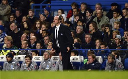 Chelsea's manager Rafael Benitez reacts as his team is defeated by Queens Park Rangers in their English Premier League match at Stamford Bridge in London January 2, 2013. REUTERS/Dylan Martinez