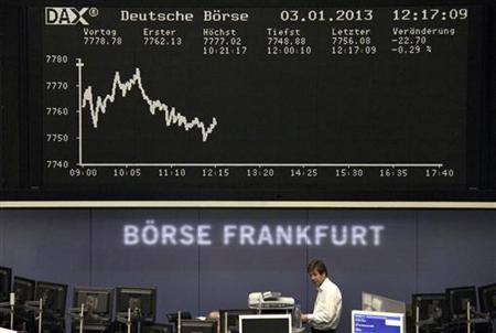 A trader is pictured in front of the DAX board at the Frankfurt stock exchange January 3, 2013. REUTERS/Remote/Pawel Kopczynski (GERMANY - Tags: BUSINESS)