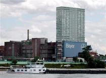 A ship on the River Rhine passes by the Bayer plant in Leverkusen August 9, 2001, one day after the withdrawel of the key anti-cholesterol drug Baycol/Lipobay. Bayer expected its 2001 healthcare earnings to come 40-50 percent below its previous expectations amid problems with its key anti-cholesterol and haemophilia drugs. Bayer recalled anti-cholesterol drug Baycol/Lipobay on Wednesday amid fears the side effects could be deadly.