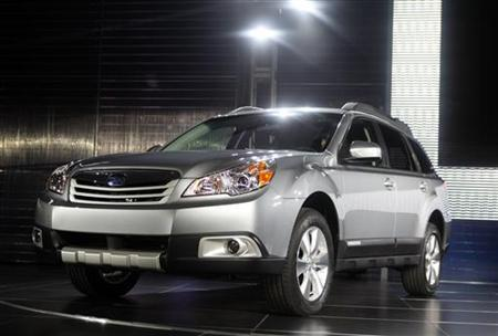 The 2010 Subaru Outback is unveiled at the 2009 New York International Auto Show April 9, 2009. REUTERS/Eric Thayer