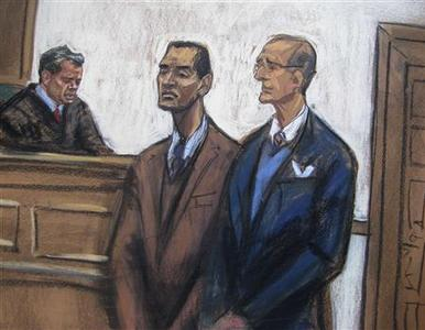 A courtroom sketch shows former SAC Capital employee Mathew Martoma (C) during his arraignment hearing at Manhattan Federal Court in New York January 3, 2013. REUTERS/Jane Rosenberg