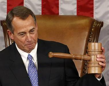 Speaker of the House John Boehner holds up the gavel after being re-elected on the first day of the 113th Congress at the Capitol in Washington January 3, 2013. Despite a rocky few weeks during the ''fiscal cliff'' fight, Boehner won re-election as speaker of the House of Representatives on Thursday and will lead Republicans as they take on the White House over federal spending. Boehner beat Democratic Minority Leader Nancy Pelosi by 220-192 in the speakership vote on the first day of a new Congress. REUTERS/Kevin Lamarque